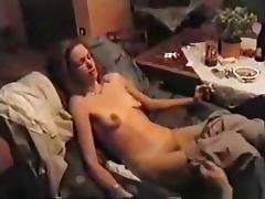 Skinny brunette girl gets her shaved pussy eaten out and masturbated and she returns the favour with a blowjob