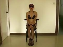 Tied up pattaya girl has oral and doggystyle sex with a party guy
