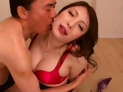 Asian bitch plays around with this cock before inserting it in her cunt