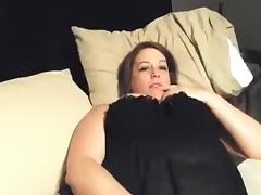 Bbw plays with her pussy and gets doggystyle fucked