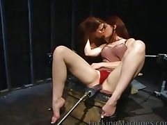 Lesbians riding pussy pounding machines