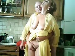 Grandma and grandpa have sex in the kitchen