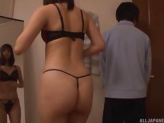 Amazing lace bra and panties on a dick stroking Asian girl