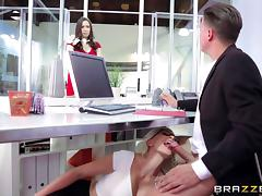 Office, Blonde, Blowjob, Boss, Couple, Doggystyle