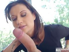 Allinternal stunning brunette sucks and fucks before cumshot