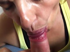 Milf neighbor sucking dick with cum in mouth