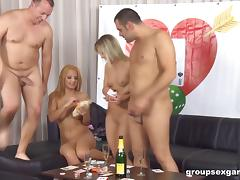 Two couples have dinner, drinks then swap partners and fuck