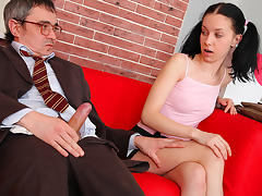 TrickyOldTeacher - Horny student sucks older teachers cock and rides cock till he cums