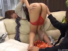 Masked man wanks as he watches the pretty Japanese girl finger