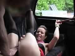 Hairy cunt stewardess bangs in cab