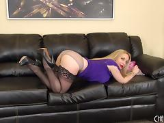 Aiden Starr with stocking hammers her cave on a seat