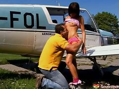 Horny pilot fucks an amused teen girl's narrow pussy