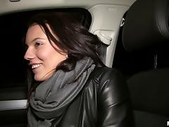 Beautiful amateur climbs in his car and gets fucked