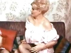 60s two blonde matures stripping some boobies