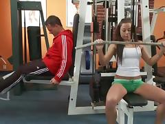 Sex with trainer in gym
