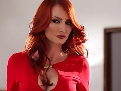 Lesbian milf redhead spanks a misbehaving girl and fucks her
