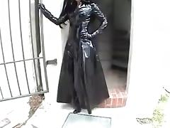 Sexy Anja in black shiny PVC pants coat boots