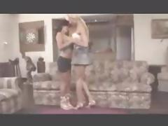 Blonde Ladyboy Fucks Brunette Slag