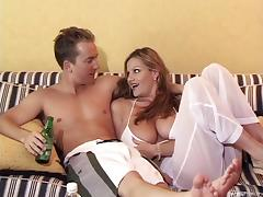 Beach babes meet a dude and have a threesome in a hotel
