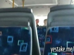 Guy films a chick sucking and riding on a dick in moving bus