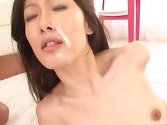 Eri Ito has her ankles held as she gets fucked and jizzed on