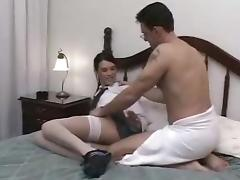 Romantic t-girl in white stockings & soft banger lovely ramming