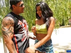 Latina loves the muscular guy and the way he fucks her hard