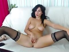 Sexy Brunette smokes and hammers her pussy