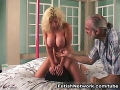 Big breasted blonde is in for some corporal punishments