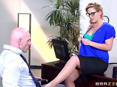 Horny busty blonde secretary motivates her boss with hardcore sex