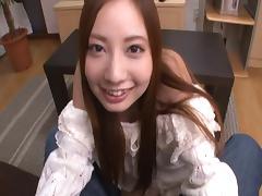 Redhead Japanese slut always sucks a cock before riding it in a POV clip