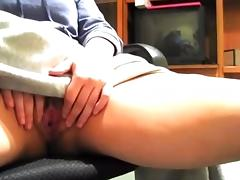 she films herself fingering under her desk.  s