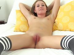 Super cute small boobs girl vibrates her lovely pussy