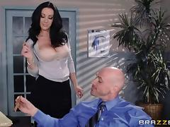 Dark haired office slut with big tits like fucking colleagues