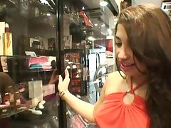 Wild slut meets a guy at a porn store and fucks him
