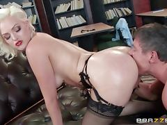 Glamorous blonde with a big ass wears lingerie while fucking