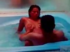 My wife Naty is fucking with his friend in the jacuzzi.