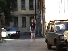 Amateur Redhead's Sleazy Fuck in Alley