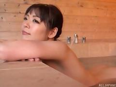 Hot Japanese girl triple teamed by three fat guys in a hot tub
