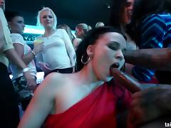 Mouth-watering babes visit the nightclub for some pussy penetration
