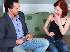 TrickyOldTeacher - Redhead tempts teacher and sucks cock and fucks him to pass class today