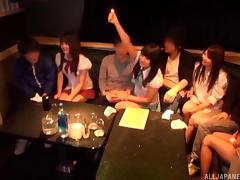 Japanese party girls at a night club entertain the guys with blowjobs