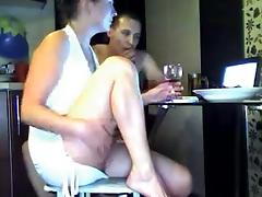 Amateur threesome in front of webcam