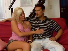 Mini-skirt clad transsexual slut with long blonde hair giving a stranger a blowjob