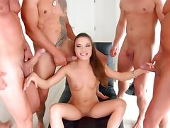 slutty anita entertains gang of horny men