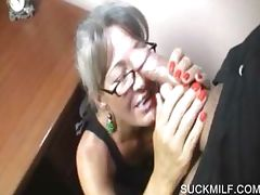 Lusty cougar giving hand job on knees porn video