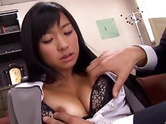 Nurse from Japan takes the cock into her hands and gives a blowjob