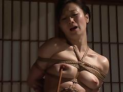 Gorgeous Japanese chick with a curvaceous body in the bondage action