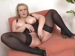 Solo BBW in black stockings makes her pussy wet with a toy