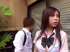 Beautiful girl from Japan rides the erected pecker in the classroom